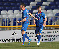 Greg Tansey (left) after scoring in the Inverness Caledonian Thistle v St Mirren Scottish Professional Football League Premiership match played at the Tulloch Caledonian Stadium, Inverness on 29.3.14.