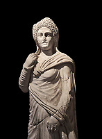 Roman statue of Demiougous, 2nd century AD from Hierapolis. Hierapolis Archaeology Museum, Turkey . Against an black background