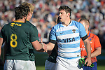 06/09/2018. Malvinas Argentinas Stadium, Mendoza, Argentina. The Rugby Championship 2018, Round 2, Los Pumas beat the Spingboks at home 32 to 19. Matias Alemanno shacking hands with Warren Whiteley after end of the match. /Maximiliano Aceiton/Trysportimages