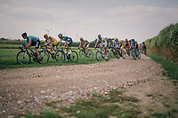 peloton conquering the gravel sectors (and trying to avoid the tricky gravel corner...)<br /> <br /> Antwerp Port Epic 2018 (formerly &quot;Schaal Sels&quot;)<br /> One Day Race:  Antwerp &gt; Antwerp (207 km; of which 32km are cobbles &amp; 30km is gravel/off-road!)