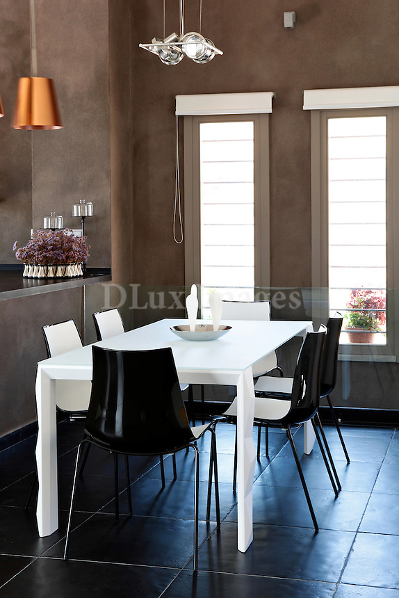 contemporary black and white dining set