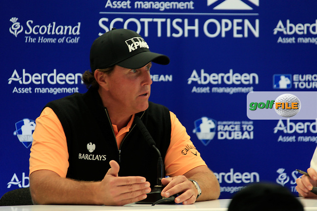 Phil Mickelson (USA) speaking before the start of the Aberdeen Asset Management Scottish Open 2016, Castle Stuart  Golf links, Inverness, Scotland. 06/07/2016.<br /> Picture Fran Caffrey / Golffile.ie<br /> <br /> All photo usage must carry mandatory copyright credit (&copy; Golffile | Fran Caffrey)