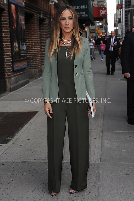 WWW.ACEPIXS.COM <br /> April 13, 2015 New York City<br /> <br /> Sarah Jessica Parker after taping an appearance on the Late Show with David Letterman on April 13, 2015 in New York City.<br /> <br /> Please byline: Kristin Callahan/ACE Pictures  <br /> <br /> ACEPIXS.COM<br /> Ace Pictures, Inc<br /> tel: (212) 243 8787 or (646) 769 0430<br /> e-mail: info@acepixs.com<br /> web: http://www.acepixs.com