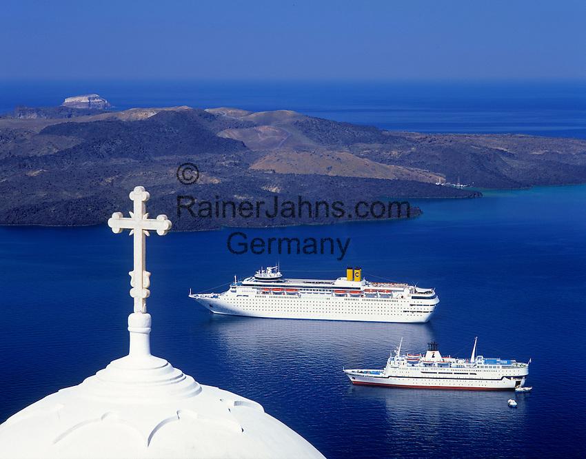 Greece; Cyclades; Santorini; Fira (Thira): white dome, cruise ships anchoring in front of island Nea Kameni