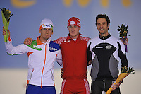 SCHAATSEN: SALT LAKE CITY: Utah Olympic Oval, 17-11-2013, Essent ISU World Cup, 5000m, Division B, Douwe de Vries (NED), Daniil  Sinitsyn (RUS), Shane Dobbin (NZL), ©foto Martin de Jong