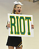 Kylie Klein of the Ward Melville Patriot varsity cheerleaders looks to incite a riot during an invitational competition held at Smithtown High School West on Saturday, Dec. 17, 2016.
