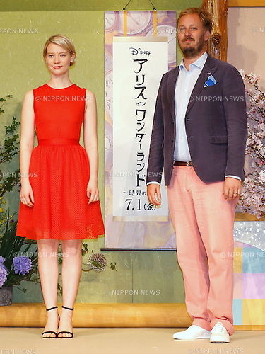 "(L-R) Actress Mia Wasikowska and director James Bobin attend the press conference for the film ""Alice Through the Looking Glass"" in Tokyo, Japan on June 20, 2016. (Photo by Sho Tamura/AFLO)"