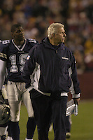 18 December 2005:Cowboys Coach Bill Parcells (Tuna) and Keyshawn Johnson (19) walk off the field at halftime down 28-0..The Washington Redskins defeated the Dallas Cowboys 35-7  at FedEx Field in Landover, MD.