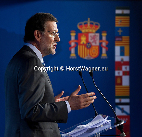 Brussels-Belgium - June 29, 2012 -- European Council, EU-summit meeting of Heads of State / Government; here, Mariano RAJOY BREY, Prime Minister of Spain, during his press conference at the end of the meeting -- Photo: © HorstWagner.eu