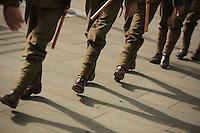 Men in World War I gear in Union Street, Swansea, south Wales UK. Friday 01 July 2016