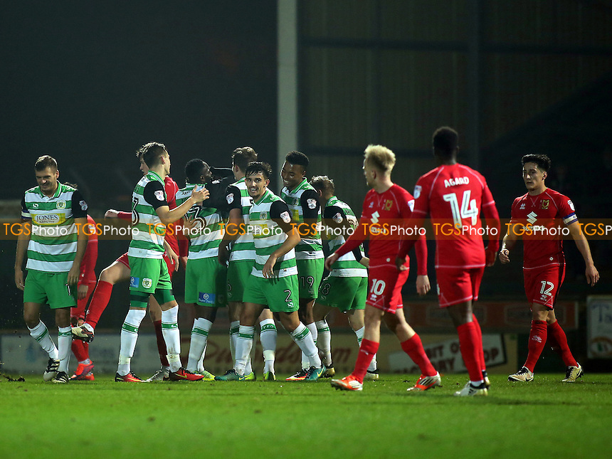 Yeovil celebrate scoring their third goal during Yeovil Town vs MK Dons, Checkatrade Trophy Football at Huish Park on 6th December 2016