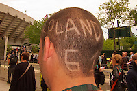 France, Paris, 27.05.2014. Tennis, French Open,Roland Garros, Roland Garros haircut on a spectators head<br /> Photo:Tennisimages/Henk Koster