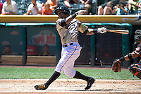 Luis Jimenez (7) of the Salt Lake Bees at bat against the Fresno Grizzlies at Smith's Ballpark on May 26, 2014 in Salt Lake City, Utah.  (Stephen Smith/Four Seam Images)