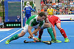 ENG - London, England, August 29: During the men bronze medal match between Ireland (green) and England (red) on August 29, 2015 at Lee Valley Hockey and Tennis Centre, Queen Elizabeth Olympic Park in London, England. Final score 4-2 (2-2). (Photo by Dirk Markgraf / www.265-images.com) *** Local caption *** Kyle GOOD #24 of Ireland, Michael HOARE #12 of England