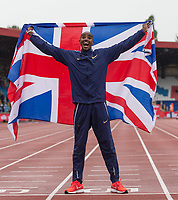Mo FARAH of Great Britain poses for photographers following his final track race in the UK ever (3000m) during the Muller Grand Prix Birmingham Athletics at Alexandra Stadium, Birmingham, England on 20 August 2017. Photo by Andy Rowland.
