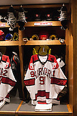 Jake Horton's (Harvard - 91) stall. - Harvard University celebrated the official opening of the newly renovated Bright-Landry Hockey Center on Saturday, November 1, 2014,  in Cambridge, Massachusetts.