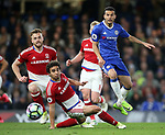 Chelsea's Pedro tussles with Middlesbrough's Fabio during the Premier League match at Stamford Bridge Stadium, London. Picture date: May 8th, 2017. Pic credit should read: David Klein/Sportimage