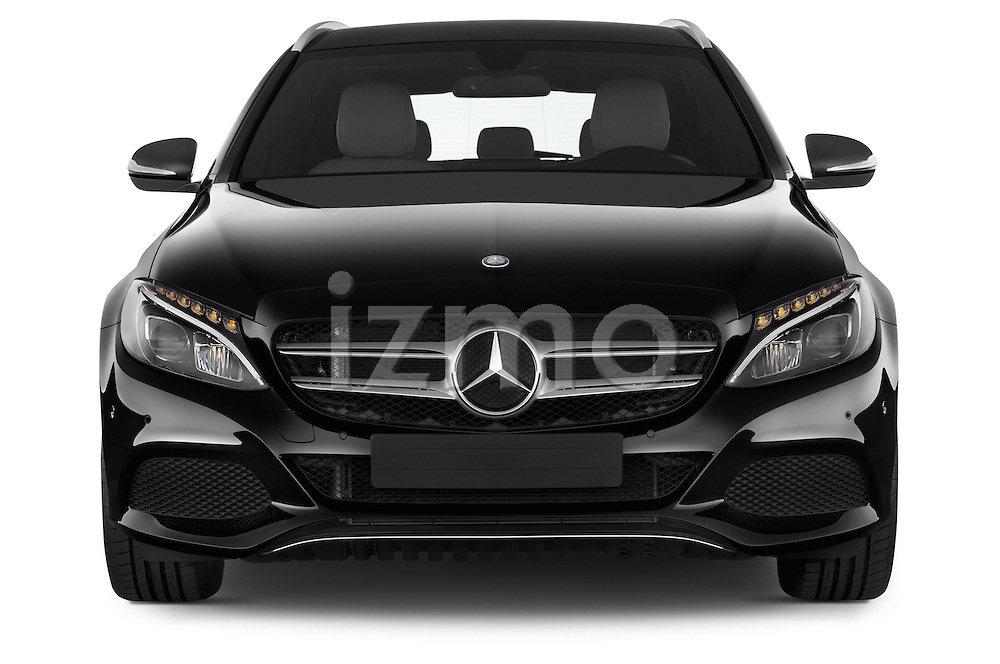 Car photography straight front view of a 2014 Mercedes Benz C-CLASS Avantgarde 5 Door Wagon 2WD Front View