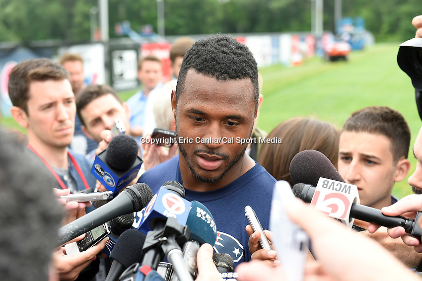 June 12, 2014 - Foxborough, Massachusetts, U.S. - New England Patriots linebacker James Anderson (55)  takes questions from the media at the team's organized team activity at Gillette Stadium in Foxborough, Massachusetts. Eric Canha/CSM