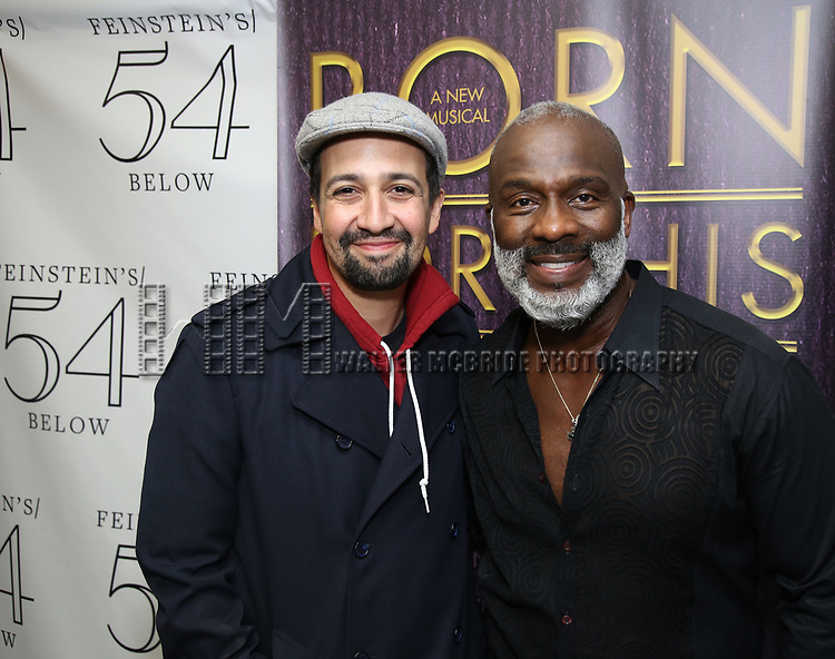 """Lin-Manuel Miranda and BeBe Winans backstage after a Song preview performance of the Bebe Winans Broadway Bound Musical """"Born For This"""" at Feinstein's 54 Below on November 5, 2018 in New York City."""
