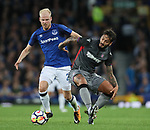 Davy Klaassen of Everton tussles with Savvas Gentsoglou of Hajduk Split during the Europa League Qualifying Play Offs 1st Leg match at Goodison Park Stadium, Liverpool. Picture date: August 17th 2017. Picture credit should read: David Klein/Sportimage