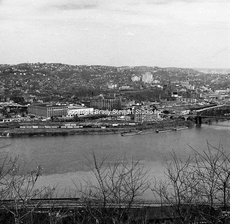 Pittsburgh PA:  View of Pittsburgh's Northside with Allegheny General Hospital in the background - 1962