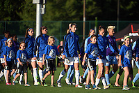 Kansas City, MO - Saturday May 28, 2016: FC Kansas City  and Orlando Pride players walk onto the pitch before a regular season National Women's Soccer League (NWSL) match at Swope Soccer Village.