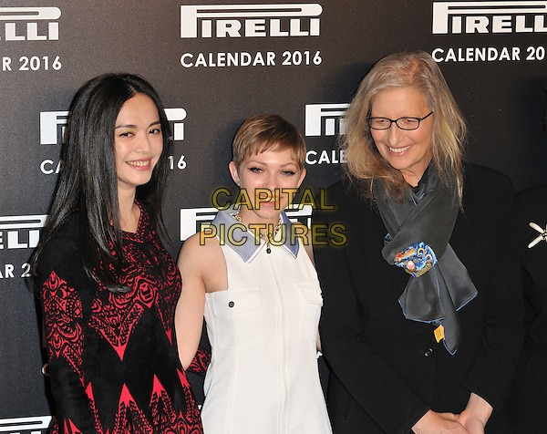 Yao Chen, Tavi Gevinson &amp; Annie Leibovitz attend the 2016 Pirelli Calendar news conference &amp; photocall, Grosvenor House Hotel, Park Lane, London, UK, on Monday 30 November 2015.<br /> CAP/CAN<br /> &copy;CAN/Capital Pictures