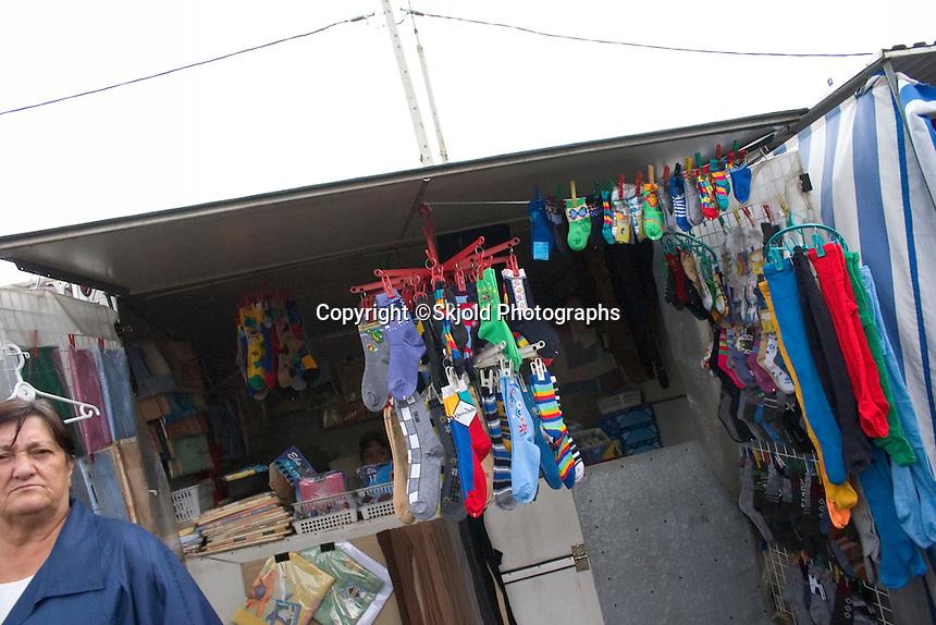 Interesting socks for sale at the Balucki Rynek market.  Lodz   Central Poland