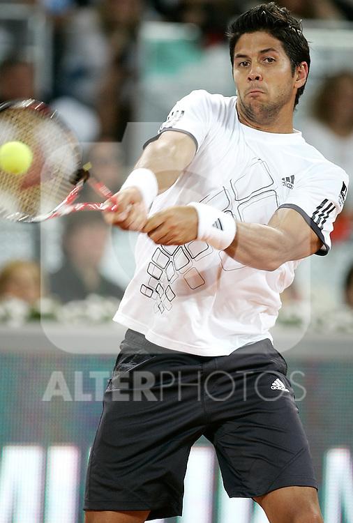 Spain's Fernando Verdasco during his Madrid Open quarter final match. May 15, 2009. (ALTERPHOTOS/Alvaro Hernandez)