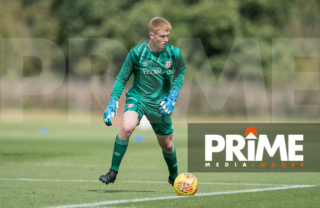 Goalkeeper Nathan Shepperd of Brentford B during the behind closed doors friendly between Brentford B and Wycombe Wanderers at Brentford Football Club Training Ground & Academy, 100 Jersey Road, TW5 0TP, United Kingdom on 3 September 2019. Photo by Andy Rowland.
