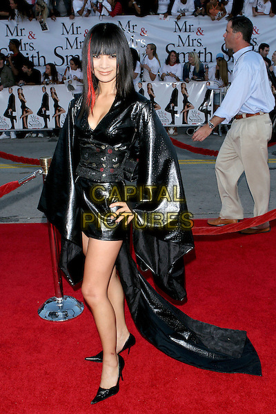 "BAI LING.""Mr. & Mrs. Smith"" World Premiere held at Mann Village Theatre, Hollywood, CA, USA, 7th June 2005..full length black pvc dress cape coat.Ref: ADM.www.capitalpictures.com.sales@capitalpictures.com.©Jacqui Wong/AdMedia/Capital Pictures."
