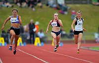 Aria Carroll (Christchurch GHS) comepetes in the girls' senior 100m quarterfinals. 2019 New Zealand Secondary Schools Athletics Championships at Newtown Park in Wellington, New Zealand on Saturday, 7 December 2019. Photo: Dave Lintott / lintottphoto.co.nz