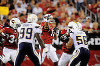 Aug. 22, 2009; Glendale, AZ, USA; Arizona Cardinals quarterback (13) Kurt Warner throws a pass in the first half against the San Diego Chargers during a preseason game at University of Phoenix Stadium. Mandatory Credit: Mark J. Rebilas-