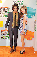 LOS ANGELES, CA - MARCH 31: Avan Jogia and Zoey Deutch arrive at the 2012 Nickelodeon Kids' Choice Awards at Galen Center on March 31, 2012 in Los Angeles, California.