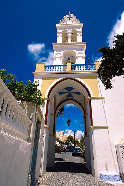 Bell tower of a street at Megalohori, Santorini, Greece