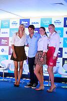 ATENÇÃO EDITOR: FOTO EMBARGADA PARA VEÍCULOS INTERNACIONAIS. SAO PAULO, SP, 06 DE DEZEMBRO DE 2012. APRESENTAÇÃO DO TORNEIO GILLETTE FEDERER TOUR.  os tenistas Roger Feder, Maria Sharapova, Victoria Azarenka e Caroline Wozniacki durante a apresentação do novo torneio Gillette Federer Tour,  na manhã desta quinta feira na zona sul da capital paulista. O Gillette Federer Tour reunirá, durante quatro dias, o melhor do tênis mundial, no Ginásio do Ibirapuera, de 6 a 9 de dezembro, com a participação de grandes estrelas como Roger Federer, Tommy Haas, Thomaz Bellucci, Jo-Wilfried Tsonga, Tommy Robredo, Victoria Azarenka, Maria Sharapova, Serena Williams, Caroline Wozniacki, Bob e Mike Bryan e Marcelo Melo e Bruno Soares.  FOTO ADRIANA SPACA - BRAZIL PHOTO PRESS