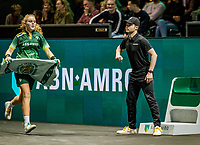 Rotterdam, The Netherlands, 16 Februari 2020, ABNAMRO World Tennis Tournament, Ahoy,<br /> Mens Single Final:  ballgirl brings towel and passes linesman<br /> Photo: www.tennisimages.com