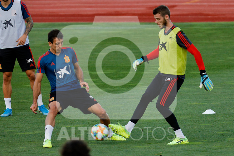 David De Gea and Oyarzabal during the Trainee Session at Ciudad del Futbol in Las Rozas, Spain. September 02, 2019. (ALTERPHOTOS/A. Perez Meca)