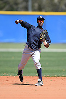 Shortstop Jorge Mateo (11) of the New York Yankees organization during practice before a minor league spring training game against the Toronto Blue Jays on March 16, 2014 at the Englebert Minor League Complex in Dunedin, Florida.  (Mike Janes/Four Seam Images)