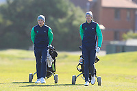 Ronan Mullarney and Tiernan McLarnon from Ireland on the 11th fairway during Round 1 Foursomes of the Men's Home Internationals 2018 at Conwy Golf Club, Conwy, Wales on Wednesday 12th September 2018.<br /> Picture: Thos Caffrey / Golffile<br /> <br /> All photo usage must carry mandatory copyright credit (© Golffile | Thos Caffrey)