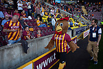 Home club mascot Billy the Bantam goes walkabout during half-time as Bradford City played Carlisle United in a Skybet League 2 fixture at Valley Parade. The home team were looking to bounce back after being relegated during a disastrous 2018-19 season on and off the pitch. Bradford won the match 3-1, watched by a crowd of 14, 217.
