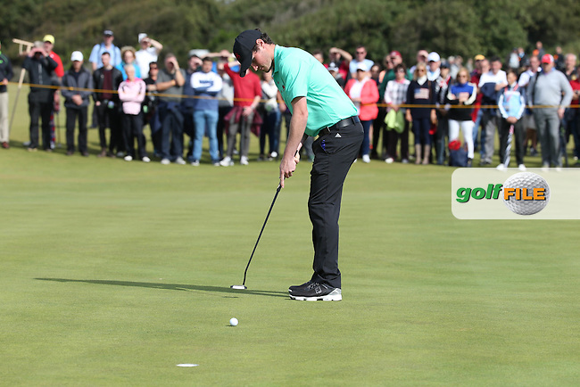 Cormac Sharvin (NIR) sluggish putting on 13th during Sunday morning Foursome matches of The Walker Cup 2015 played at Royal Lytham and St Anne's, Lytham St Anne's, Lancashire, England. 13/09/2015. Picture: Golffile | David Lloyd<br /> <br /> All photos usage must carry mandatory copyright credit (&copy; Golffile | David Lloyd)