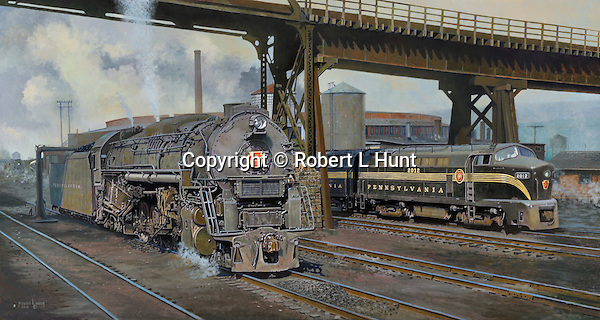 "A Pennsylvania Railroad Shark diesel waiting for orders and J1 steam locomotive taking on water from a standpipe near the Juniata Shops and roundhouse. Oil on canvas, 22"" x 41""."