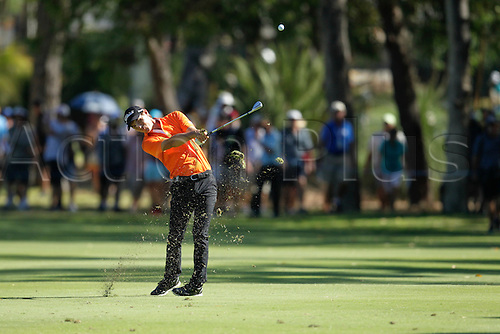28.02.2016. Perth, Australia. ISPS HANDA Perth International Golf. Jason Scrivener (AUS) plays an approach shot on the 14th during his final round.