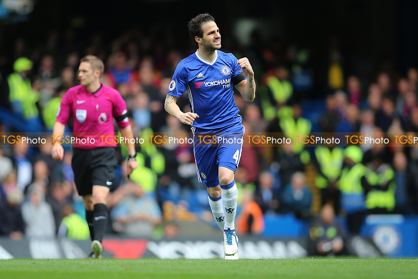 Cesc Fabregas of Chelsea scores and celebrates during Chelsea vs Crystal Palace, Premier League Football at Stamford Bridge on 1st April 2017
