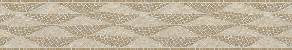"7"" Foliole border, a hand-chopped stone mosaic, shown in tumbled Renaissance Bronze and Crema Marfil."