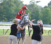 Canadian invader Careless Jewell, owned by Vern and Donna Dubinsky and trained by Josie Carroll, win the Alabama Stakes at Saratoga on Saturday, Aug. 22, 2009. Robert Landry rode the winner.
