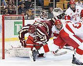 Matt O'Connor (BU - 29), Ryan Fitzgerald (BC - 19), Nick Roberto (BU - 15), Patrick MacGregor (BU - 4) - The Boston College Eagles defeated the Boston University Terriers 3-1 (EN) in their opening round game of the 2014 Beanpot on Monday, February 3, 2014, at TD Garden in Boston, Massachusetts.