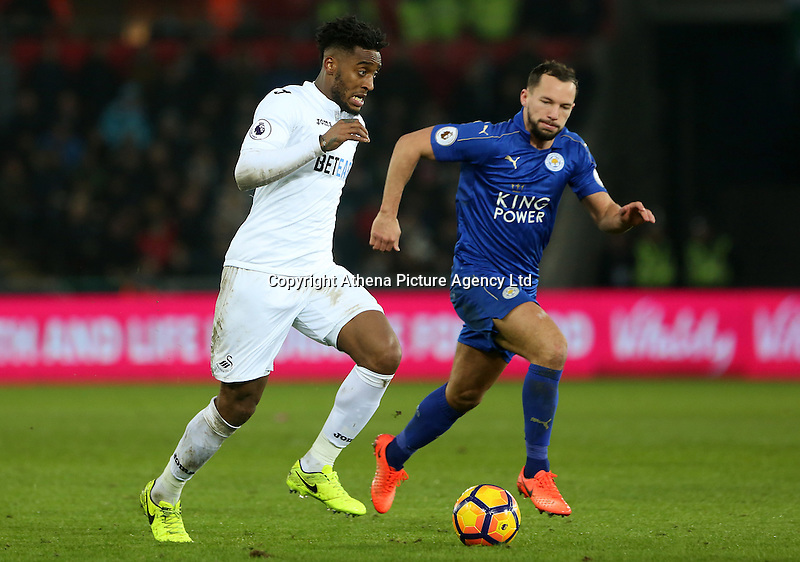Leroy Fer of Swansea City is closely marked by Danny Drinkwater of Leicester City during the Premier League match between Swansea City and Leicester City at The Liberty Stadium, Swansea, Wales, UK. Sunday 12 February 2017